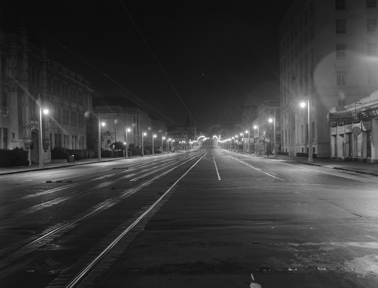 Outdoor Night Shot of Lighting, Looking North on Van Ness Ave. and Fell St. | July 17, 1937 | D3312