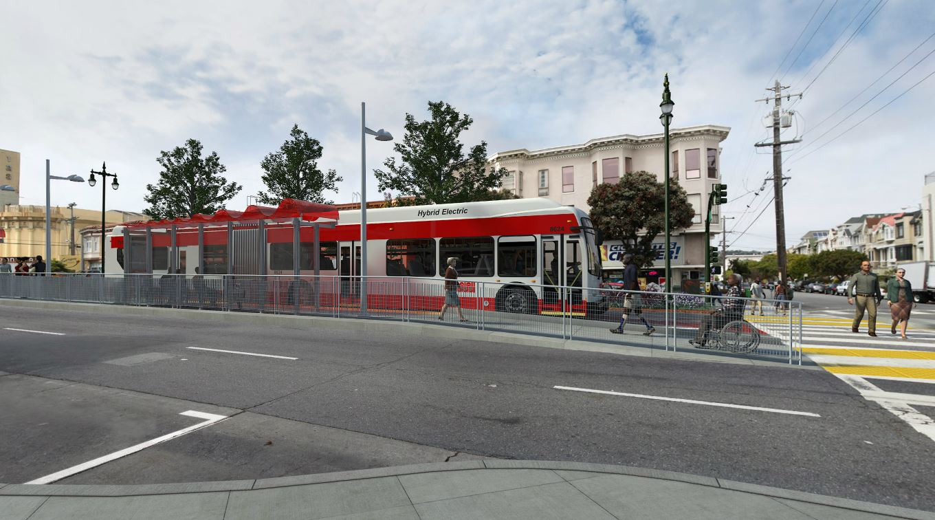Computer rendering of Muni passengers and pedestrians around a red and gray Muni bus in a photo Geary Boulevard.
