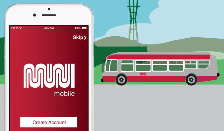 "Graphic of white iPhone with red screen and Muni worm logo with ""mobile"" underneath and a Muni bus, fog and Sutro Tower on the right."