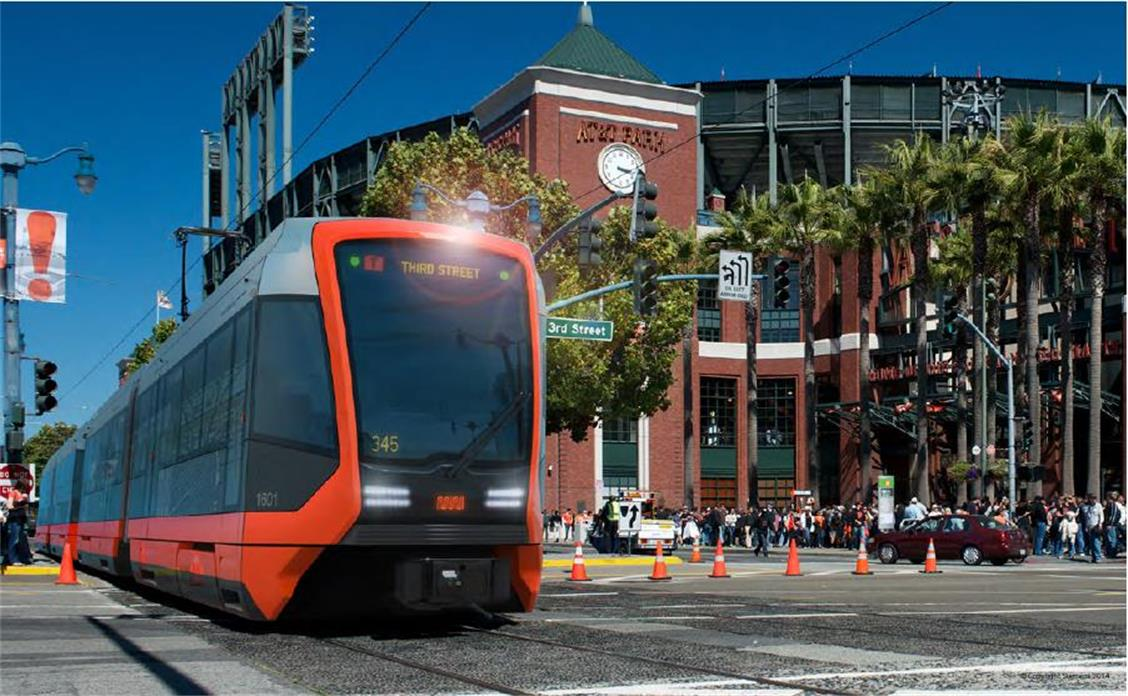 Computer rendering of new Muni light rail train shown on the N Line in front of AT&T Park