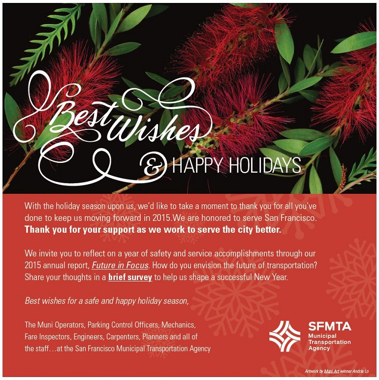 "SFMTA holiday greeting with foliage on a red background and white text ""Best Wishes & happy holidays"""