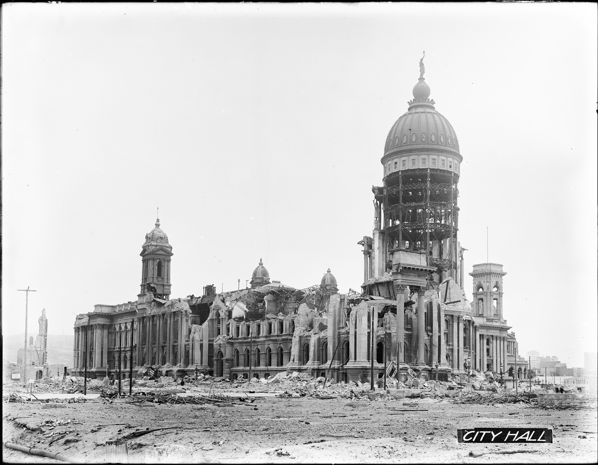 City Hall in Ruins with Dome Still Standing After the 1906 Earthquake | May 7, 1906 | U00831