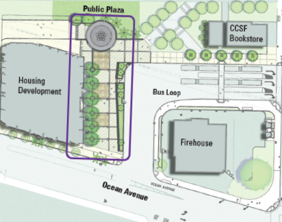 Layout map of plaza, shoing placement between the housing development and the Muni bus loop.