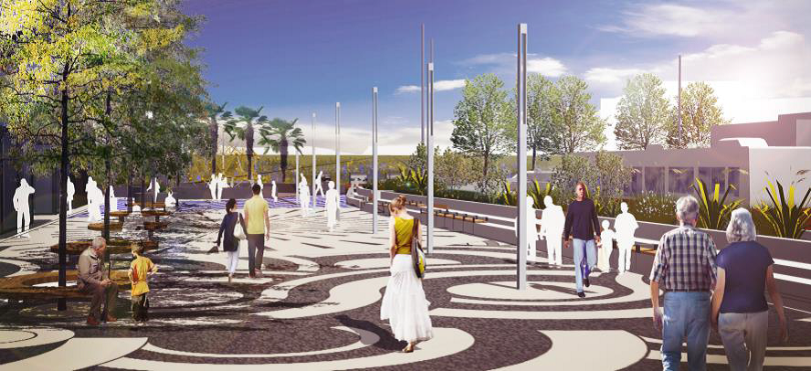 Rendering of a plaza with decorative paving in dark and light waves with light poles and trees and people walking between them.