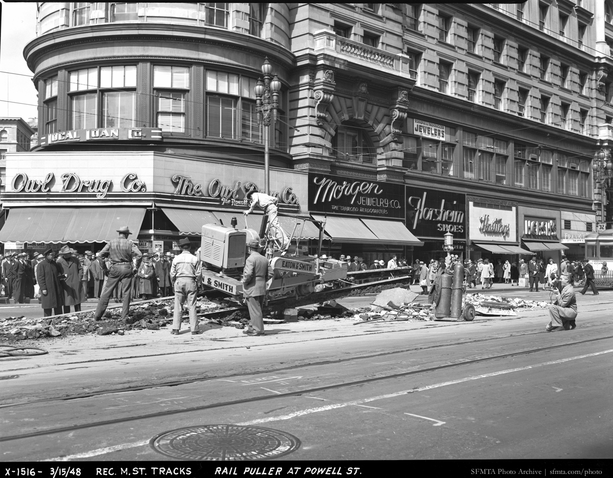 Rail Puller Removing Tracks for Reconstruction of Market Street | March 15, 1948 | X1516