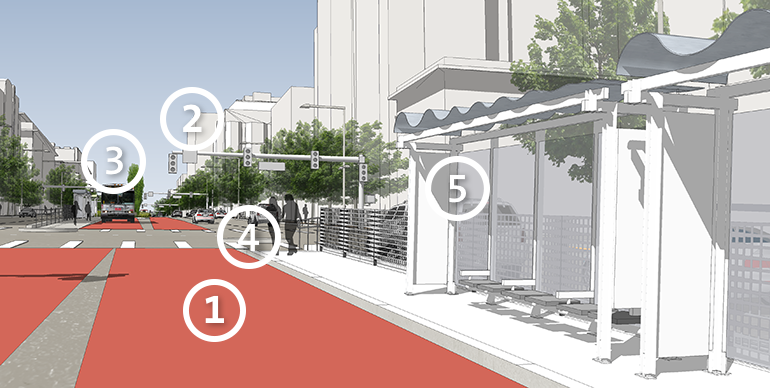 Rendering of a Bus Rapid Transit boarding platform on Van Ness that shows two transit-only lanes in the center of Van Ness and a shelter with seating.
