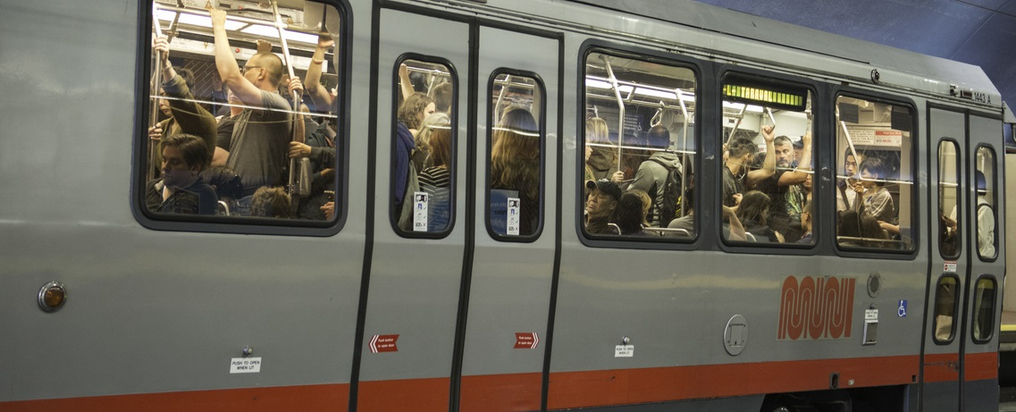 A crowded Muni Metro train.
