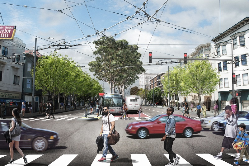 An artists rendering shows the intersection of Van Ness and Union once construction is complete, including center-running bus lanes and boarding platforms.