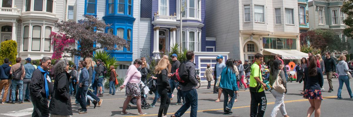 Photo of people walking at Mission District Sunday Streets