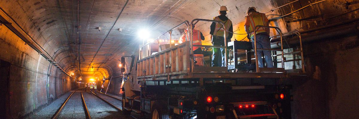 Workers inside Twin Peaks tunnel