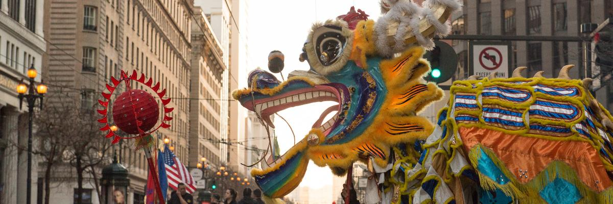 Image of Chinese New Year dragon in parade