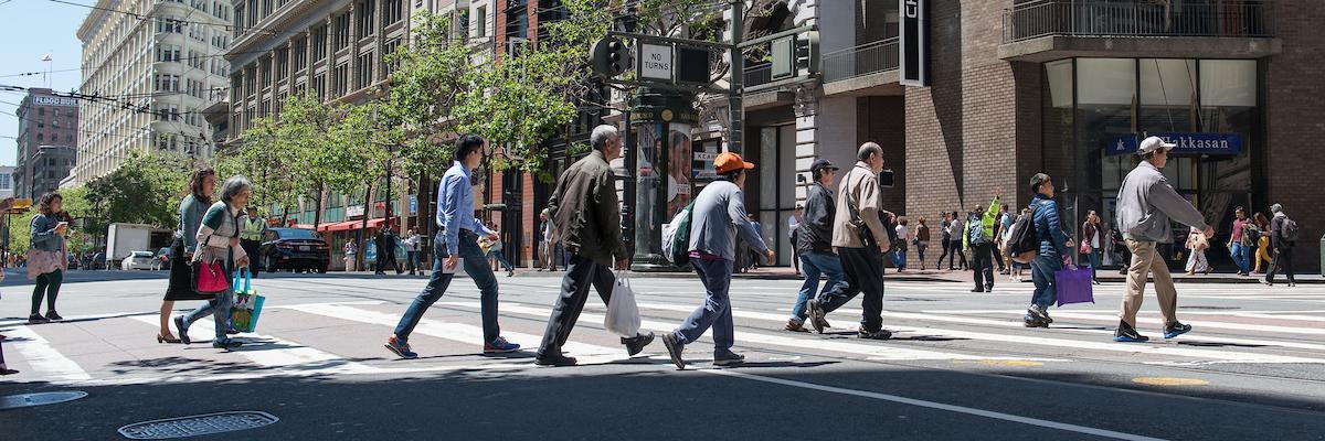 Pedestrians Crossing Market Street
