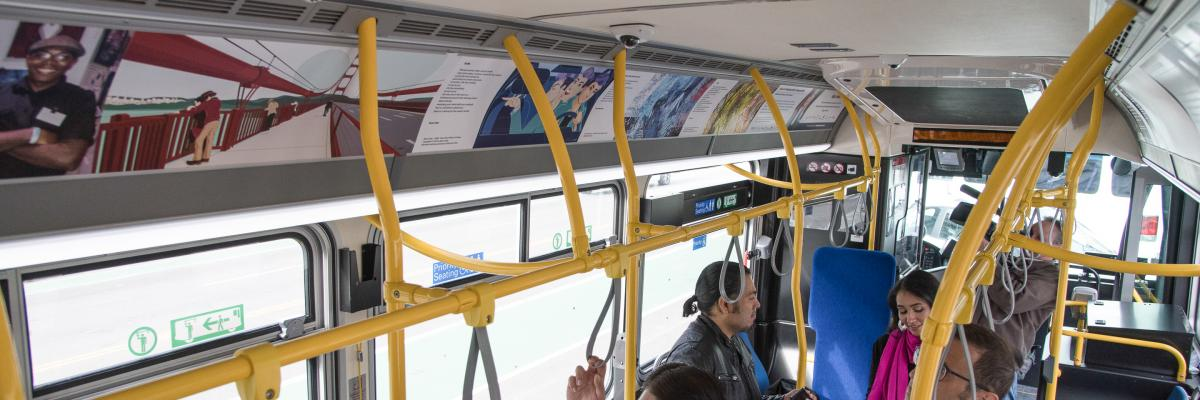 inside muni bus with art