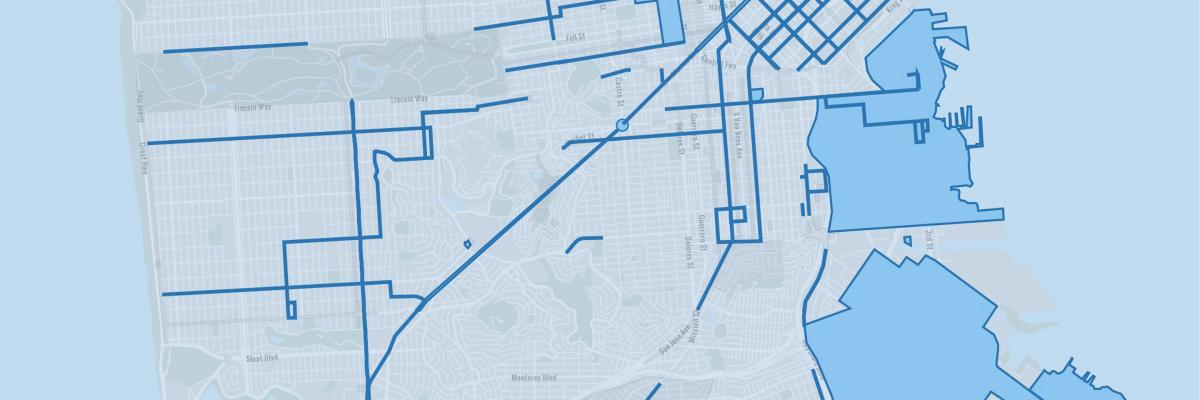 View of San Francisco map with SFMTA projects outlined