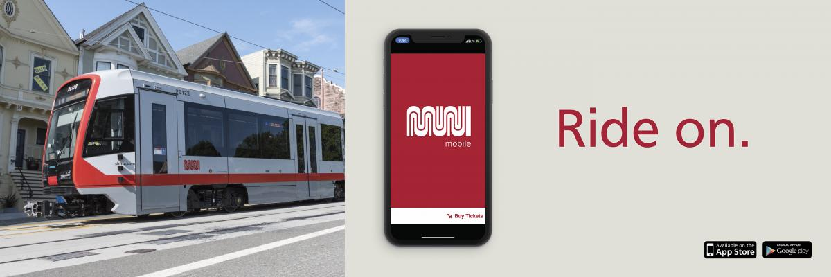 Vehicle shown and MuniMobile app for buying fares on Muni