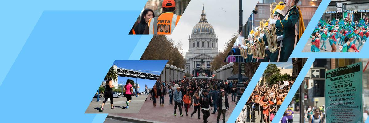 A collage of pictures showing events happening citywide