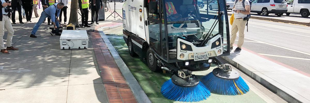 Bike lane sweeper on Market Street