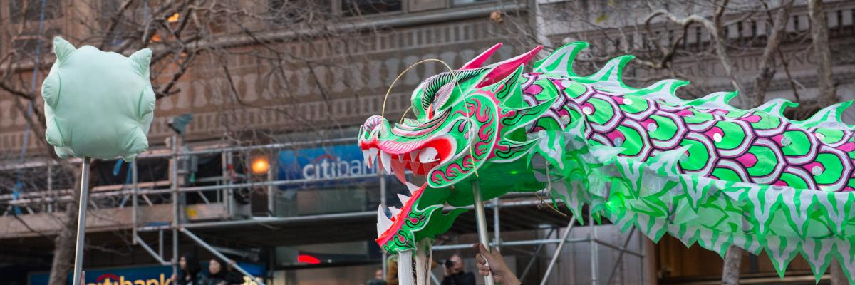 A dragon on city streets as part of Chinese New Year