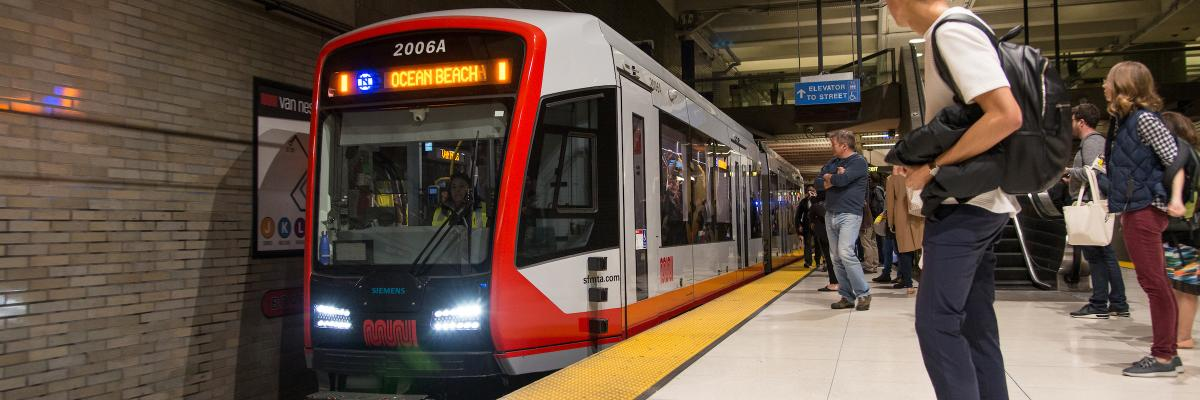 LRV4 train in subway