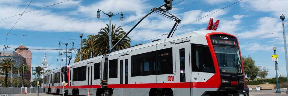 Image of LRV 4 train on city streets