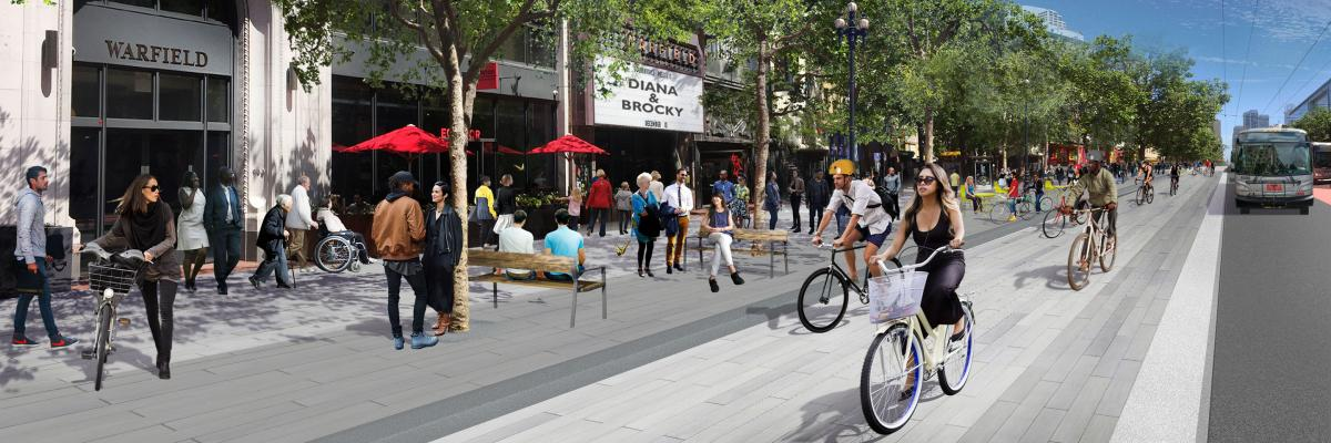 Rendering of Market Street with dedicated bike lanes and improved pedestrian experience