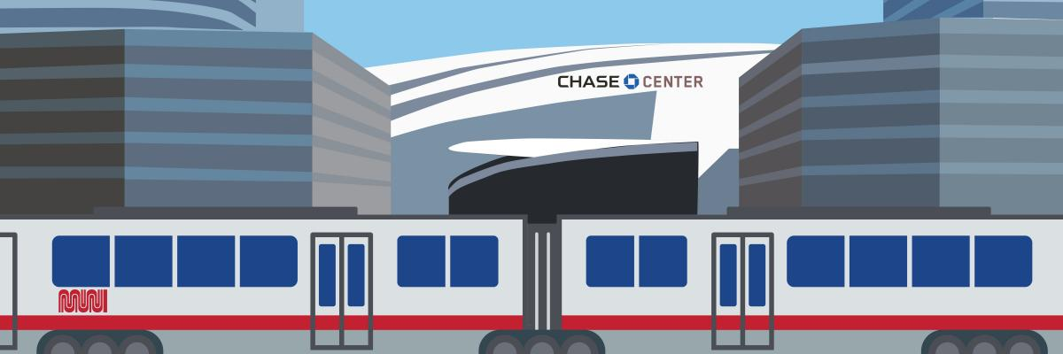 An illustration with the chase center and a muni train