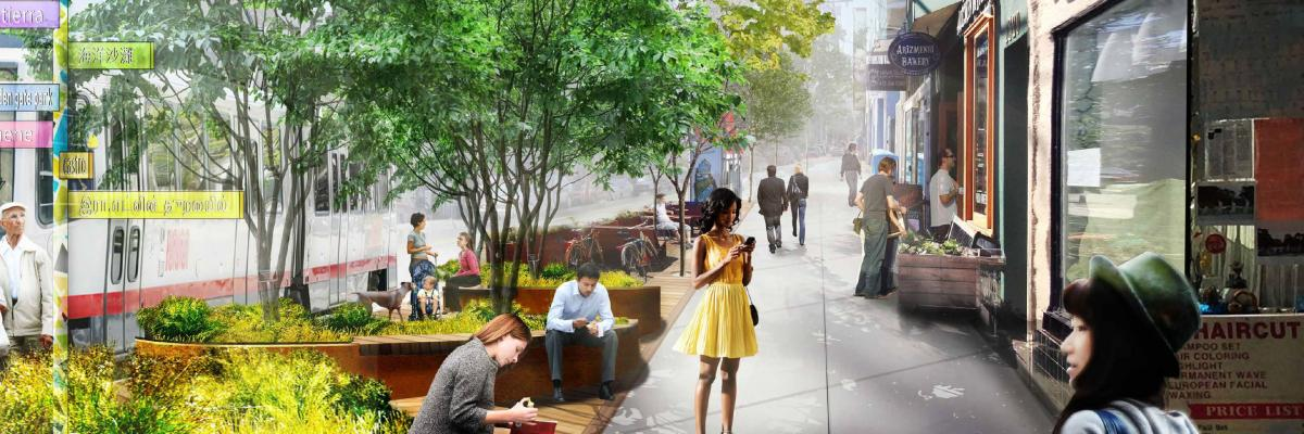 Rendering of completed Inner Sunset Streetscape along 9th Avenue