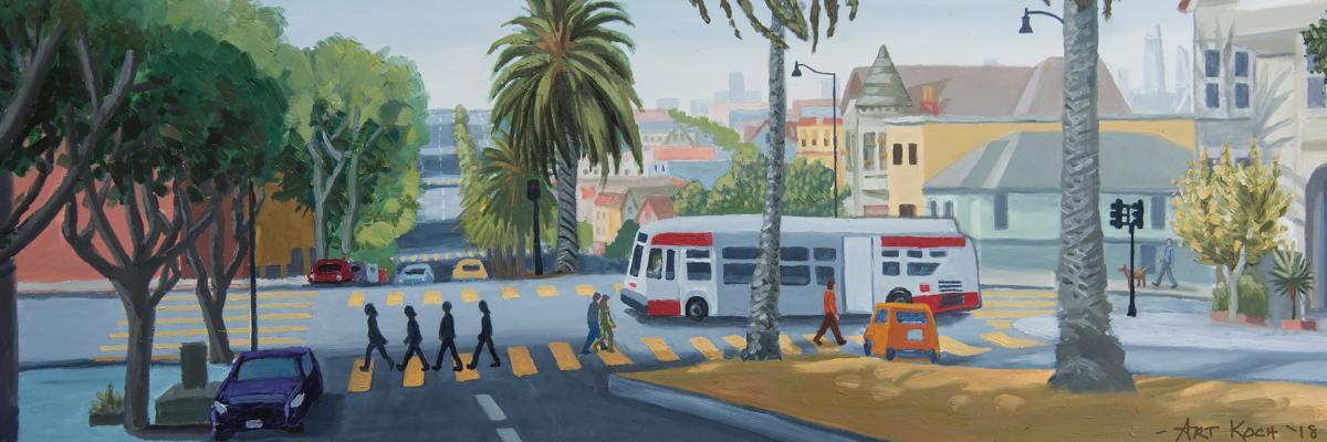 Art work showing a Muni bus and people walking as part of Muni Art artwork.