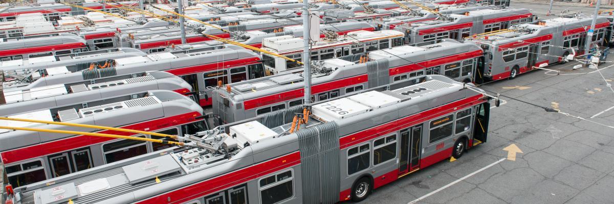 Potrero yard overhead shot of buses
