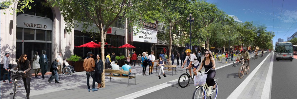 Rendering of a car-free Market Street