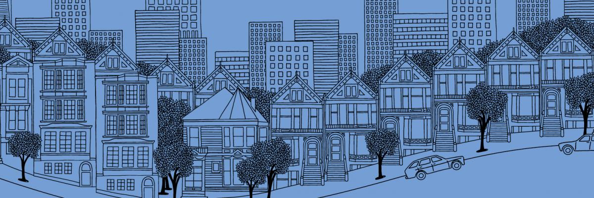 line sketch of San Francisco skyline