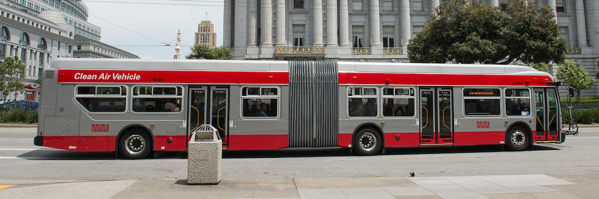 60-foot Muni Bus in front of City Hall