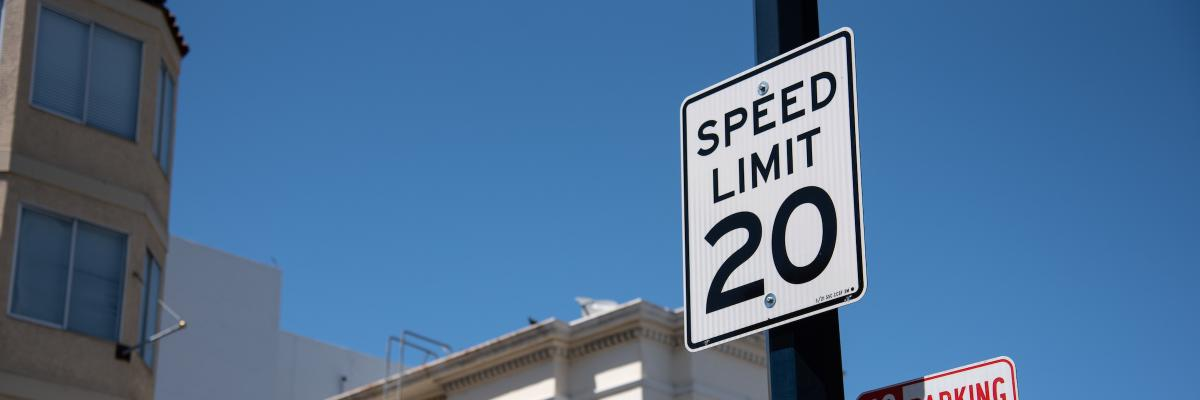 New 20 mile per hour speed limit sign in the Tenderloin