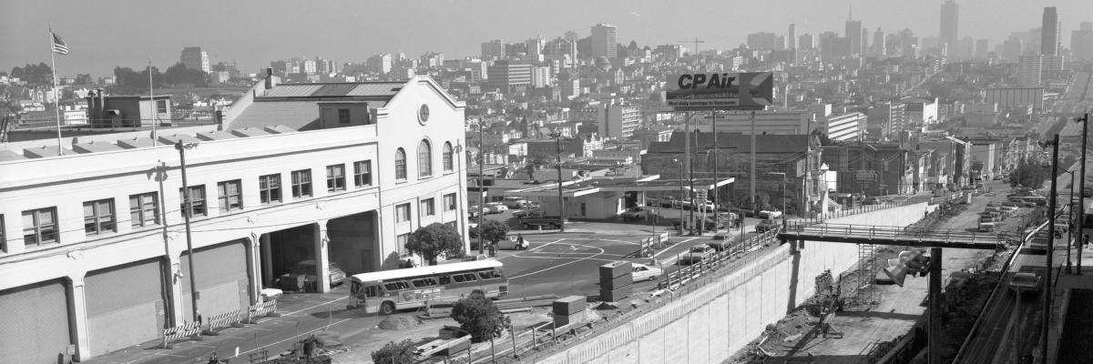 Historic View east from Presidio Avenue showing the construction of the Geary Expressway tunnel between Presidio and Masonic.