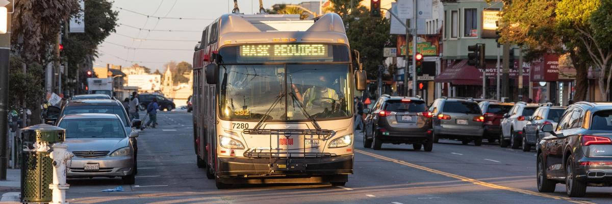 Muni Bus with Mask Required Headsign