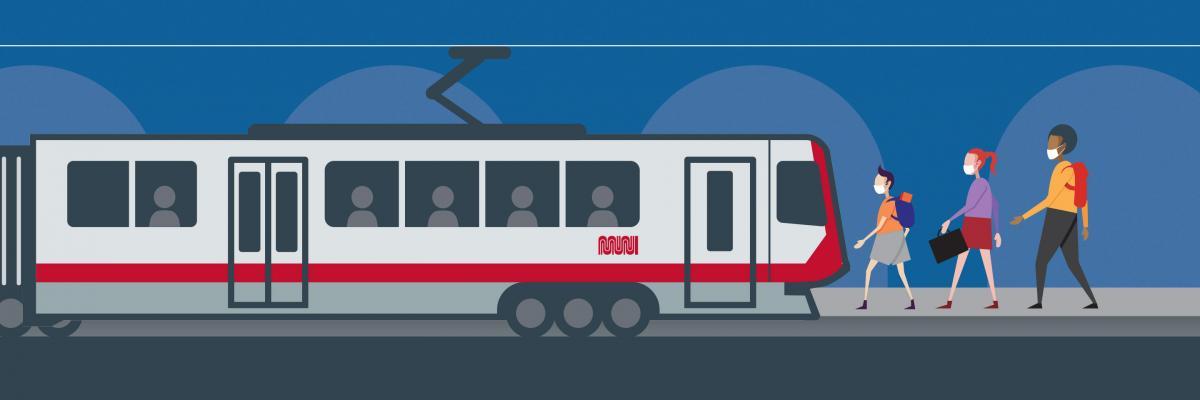 Three youths, wearing masks, approach a Muni light rail vehicle stopped at a street platform