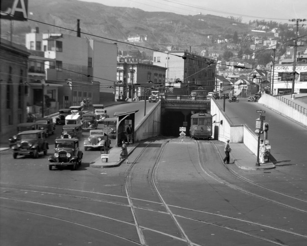 Castro Street train stop, circa 1918