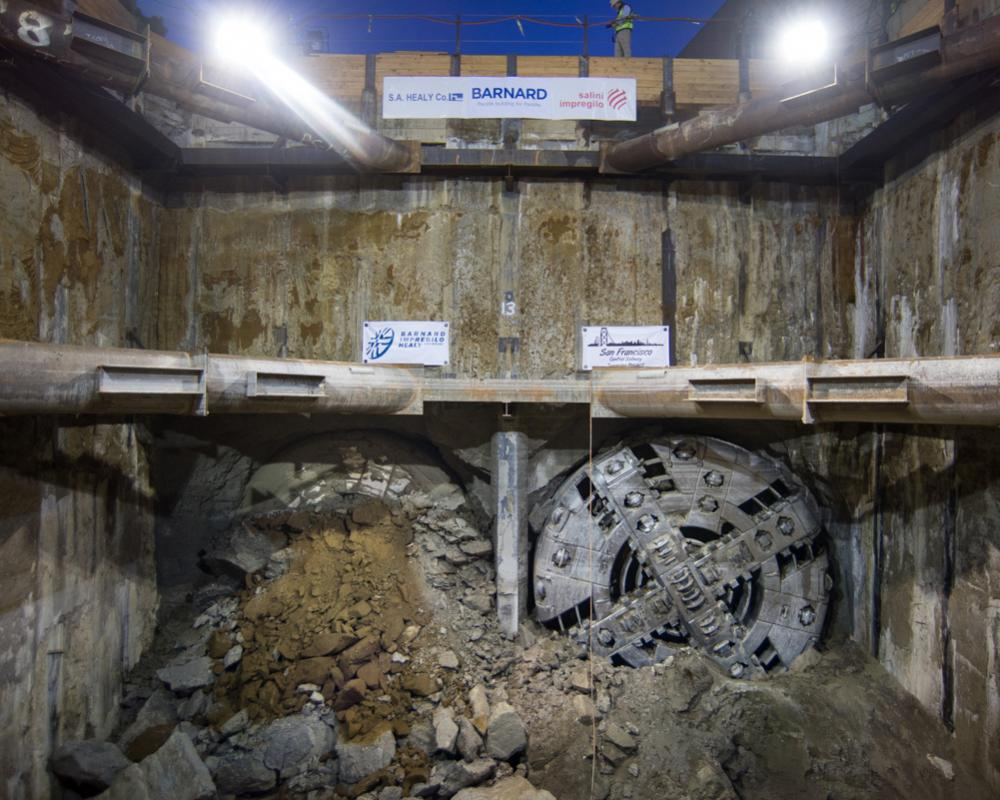 TBM Big Alma emerges (left) alongside TBM Mom Chung (right) inside the North Beach retrieval shaft.