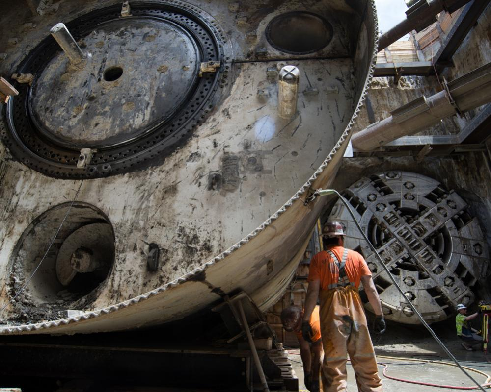 Following the completion of tunneling, both TBMs are disassembled and removed from the North Beach retrieval shaft.
