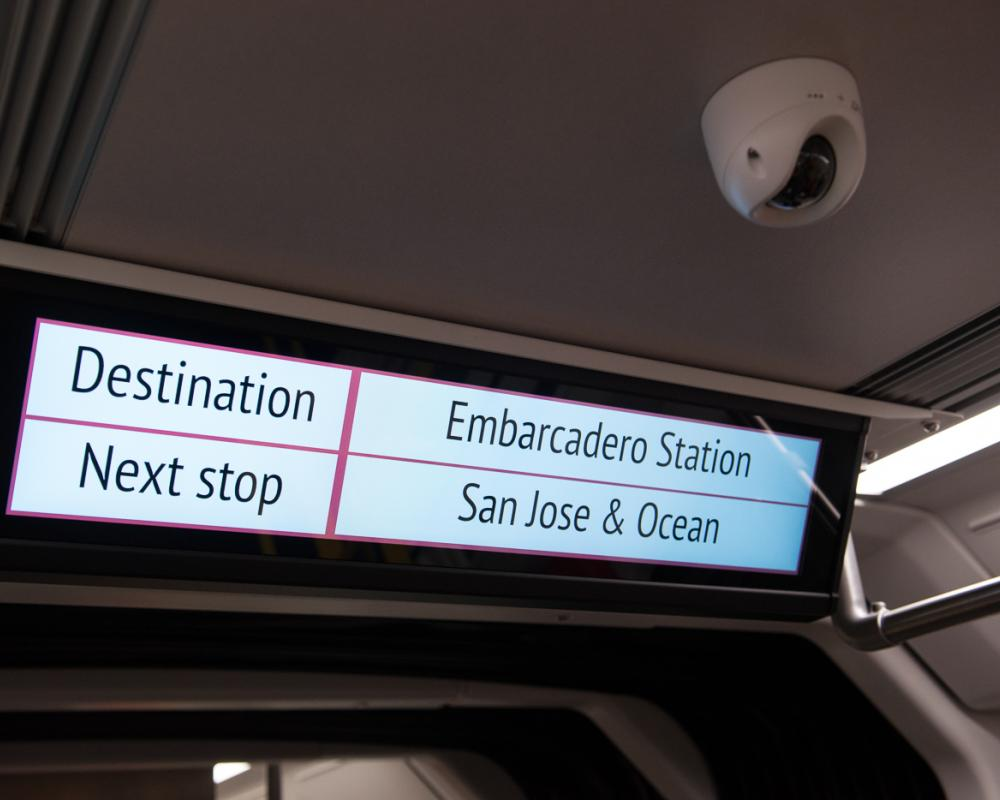 interior view of signage in new LRV