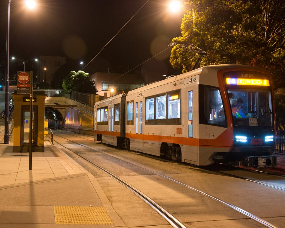 new LRV train testing at east portal of sunset tunnel