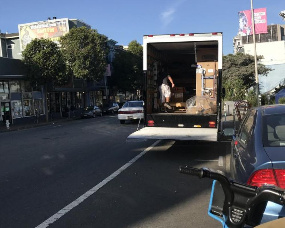 Vehicle loading in bike lane