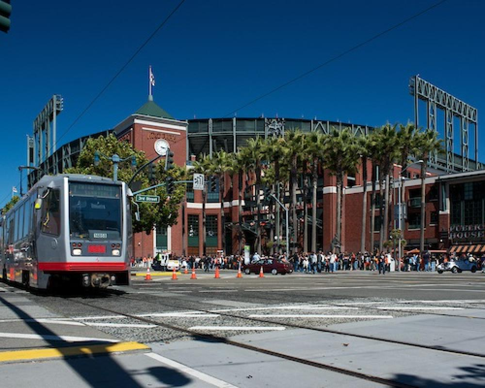 Baseball fans using Muni to get to AT&T Park