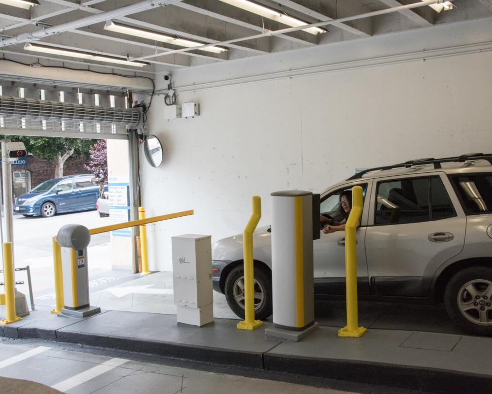 Customer Using New PARCS Payment Equipment at Vallejo Parking Garage