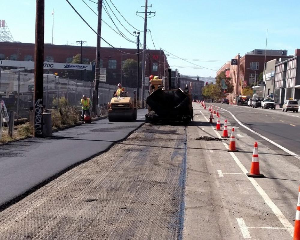 Paving new asphalt