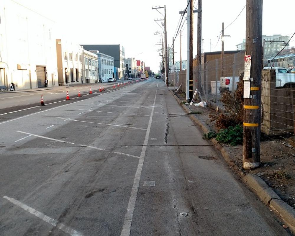 Townsend between 5th and 7th streets, before asphalt is removed