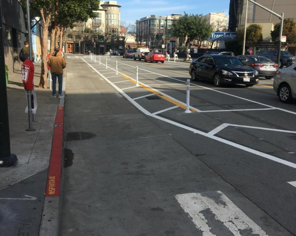 New protected bikeway on Valencia