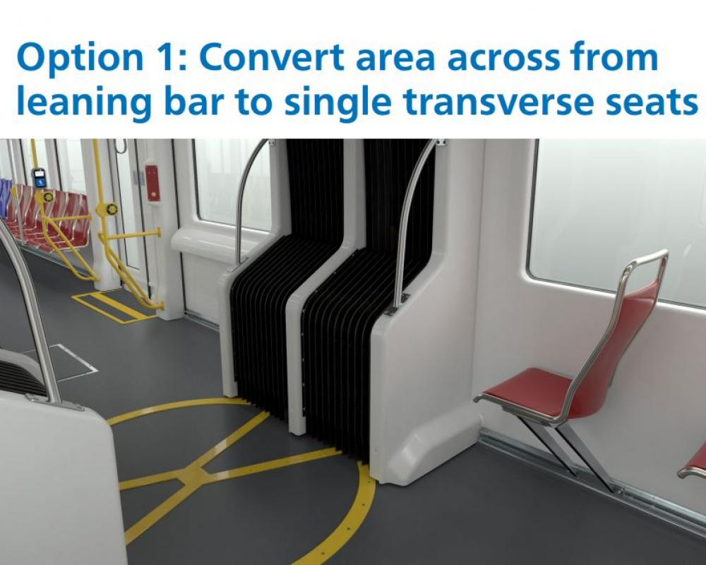 Option 1: Convert area across from leaning bar to single transverse seats.