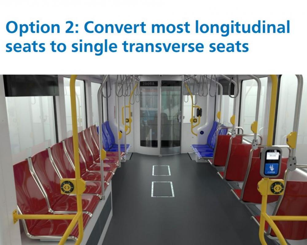 Option 2: Convert most longitudinal seats to single transverse seats.