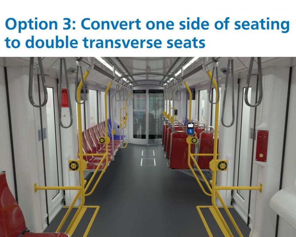 Option 3: Convert one side of seating to double transverse seats.